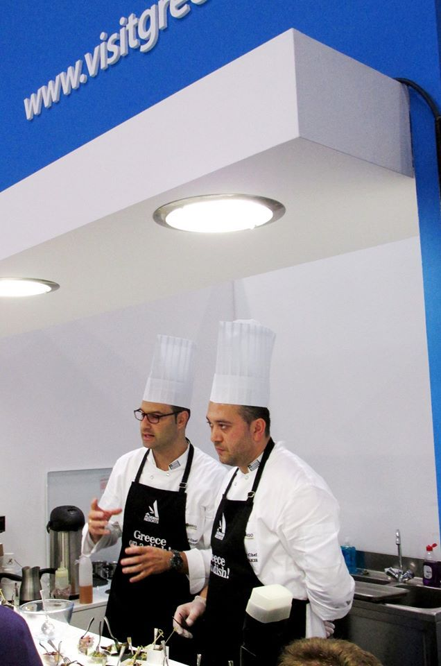 Chef George Chatzopoulos and Manolis Roubakis explaining 'Greece on a Dish' World Travel Market, Visit Greece