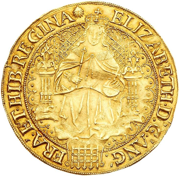 Elizabeth I (1558-1603), fine gold Sovereign of Thirty Shillings Elizabeth I (1558-1603), fine gold Sovereign of Thirty Shillings. Sixth issue (1583-1600), full facing robed figure of Queen seated on large throne, lis headed pillar either side, throne back of pellets in annulets within hatching, six pellets up each side of throne back, portcullis below Queen, tressure and beaded border surrounding, Latin legend and outer beaded border on both sides, initial mark escallop (1584-86)…