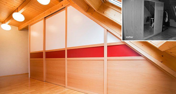 Kleiderschrank Massivholz Schiebetüren Rot Weiß lackiert Dachgeschoss Schräge