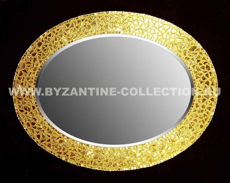 """Зеркало овальное из золотой смальты """"Золото Византии"""""""