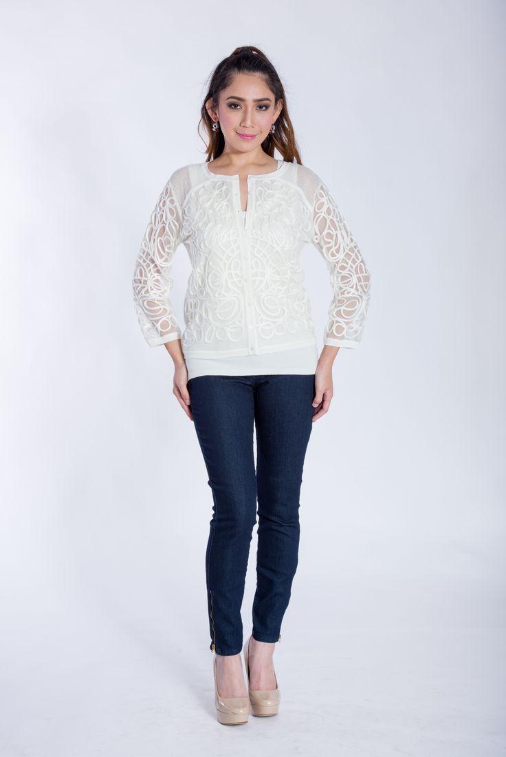 Leo Ugo Paris 2017. Stylish lace knit sweater set in off white. Designed in France