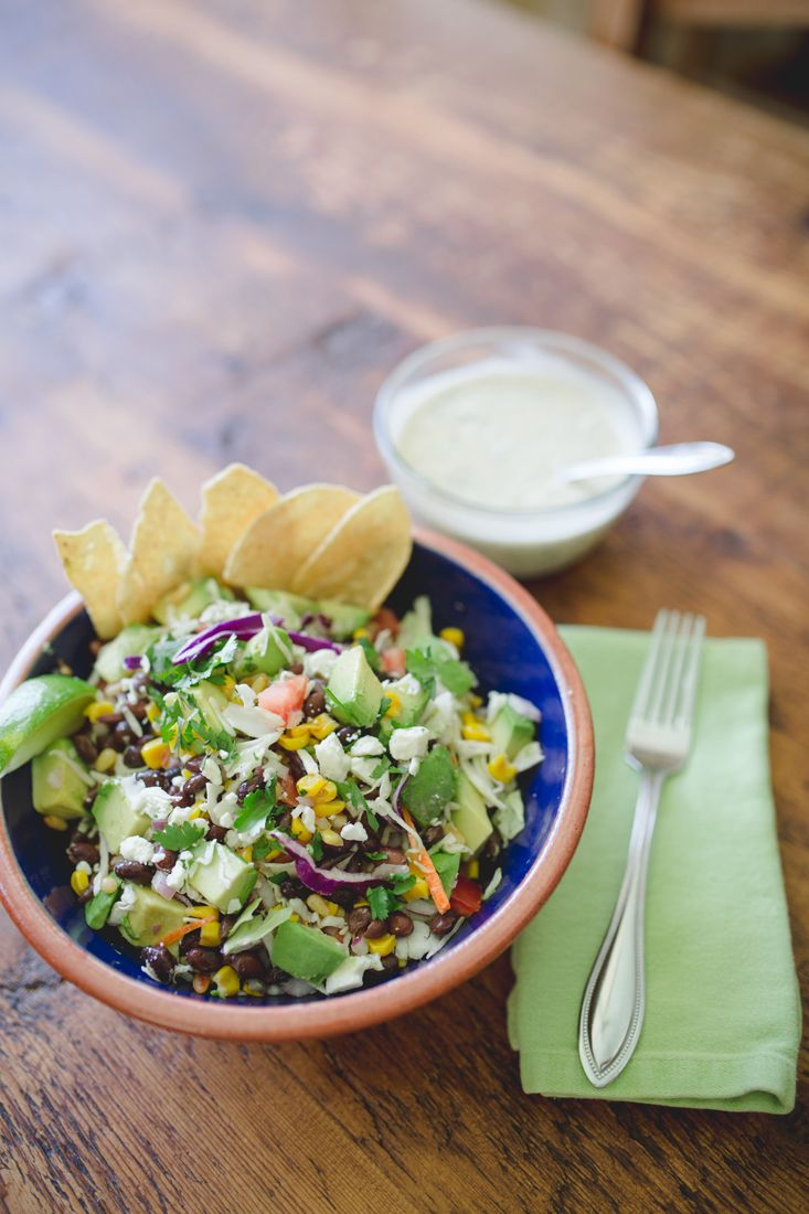 """Toasted Corn and Black Bean Salad with Creamy Cilantro Dressing 
