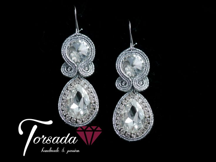 TORSADA - kolczyki sutasz z cyrkoniami ślubne srebrne / silver soutache earrings dangle wedding