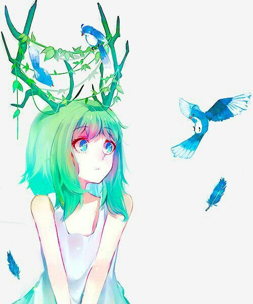 Anime Illustration Anyone Else Think This Is A Female: Anime Girl, Reindeer Antlers, Green Hair, Birds, Blue Eyes