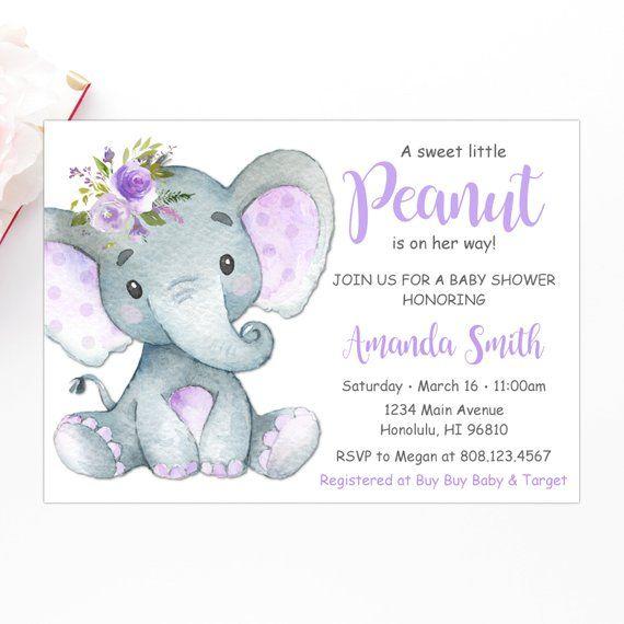 Little Peanut Baby Shower Invitation Girl Elephant Baby Shower