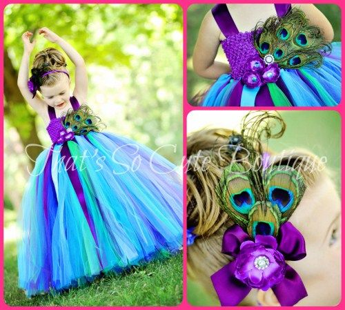 Couture Peacock Tutu Dress, Peacock Pageant Flower Girl Dress, Turquoise Purple Tutu Dress