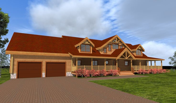 Log home plans with wrap around porch google search for Full wrap around porch log homes