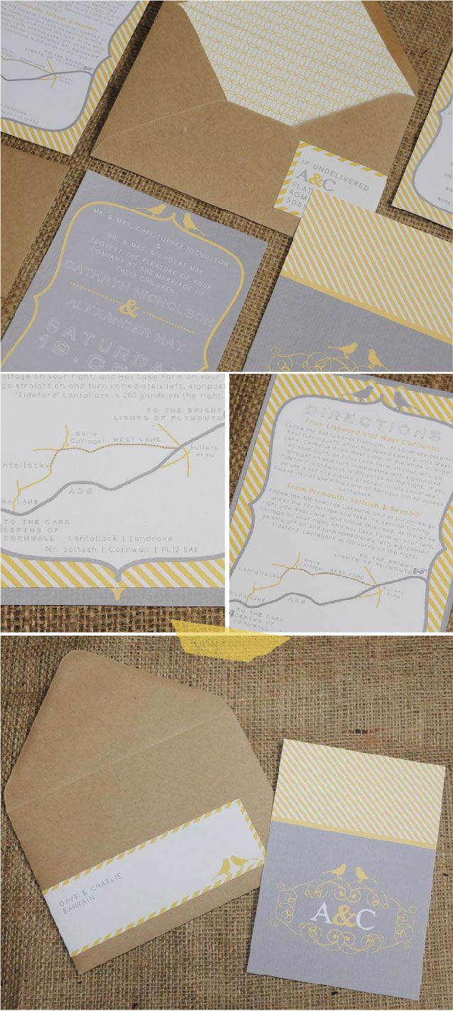 Yellow and Grey wedding invitations that I designed for my own wedding