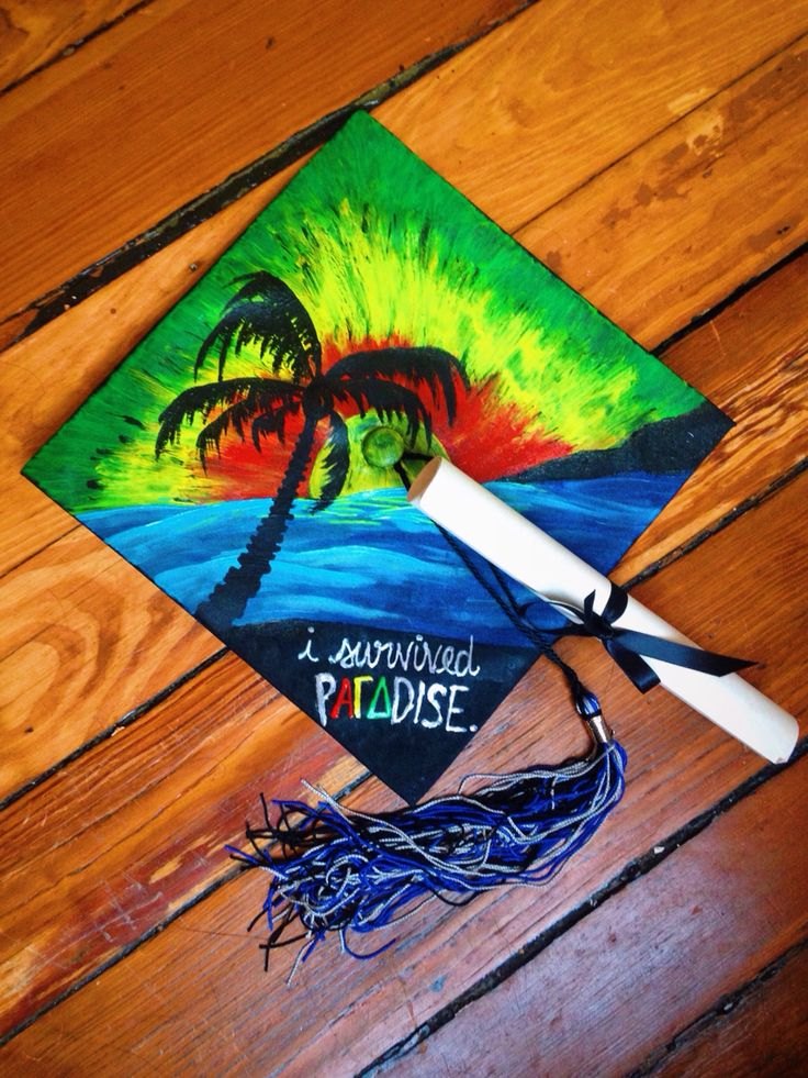 My graduation cap for VCU arts 2015. Repping Alpha Gamma Delta: Theta Nu Chapter in rva!   Paradise/ alpha gam/ agd/ tsm/ greek life