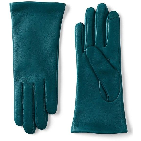 Lands' End Women's Luxe Leather Gloves found on Polyvore featuring accessories, gloves, green, leather gloves, green leather gloves, green gloves, lands' end and lands end gloves