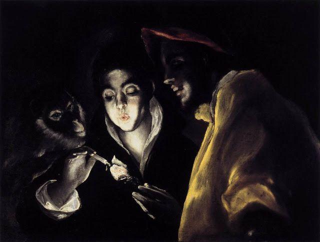Αλληγορία με ένα κερί που φωτίζει ένα παιδί έναν πίθηκο και έναν ανόητο (1577~79)
