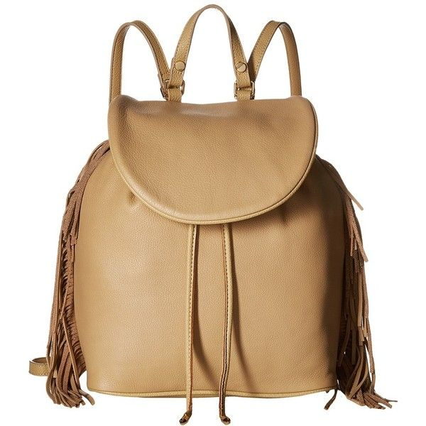 Sam Edelman Fifi Backpack (Camel) Backpack Bags ($200) ❤ liked on Polyvore featuring bags, backpacks, day pack backpack, leather drawstring backpack, leather daypack, leather bags and strap backpack