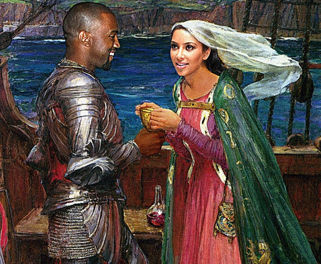Kim and Kanye as John William Waterhouse's Tristan and Isolde Kanye West