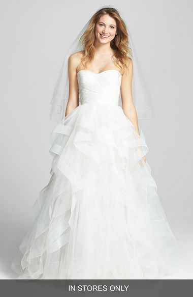 Reem Acra 'Eliza' Lace Detail Ruffled Tulle Wedding Dress (In Stores Only) available at #Nordstrom