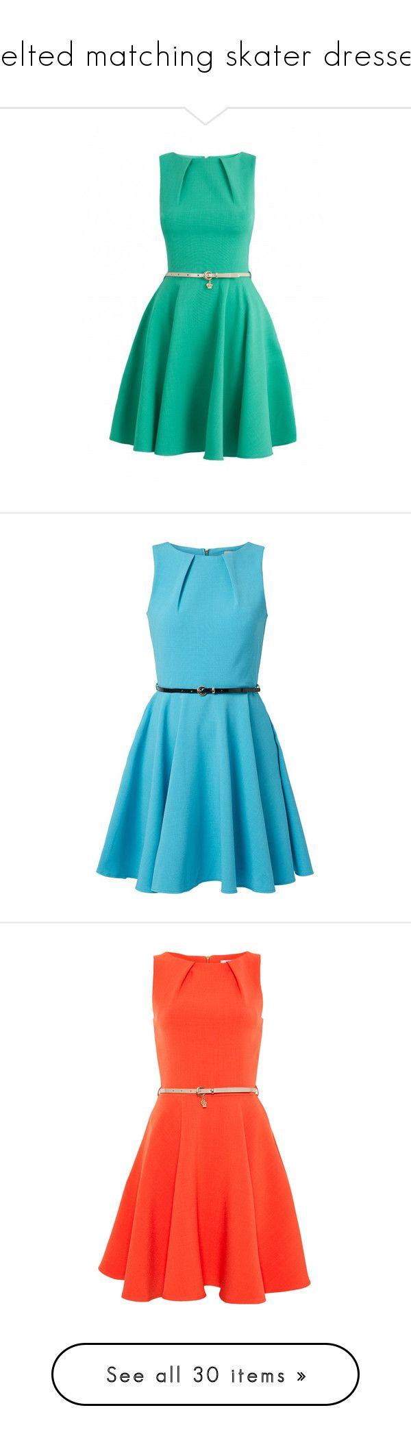"""""""belted matching skater dresses"""" by lulucosby ❤ liked on Polyvore featuring dresses, vestidos, short dresses, robe, green cocktail dress, flared dresses, belted dresses, green mini dress, flared hem dress and turquoise dress"""