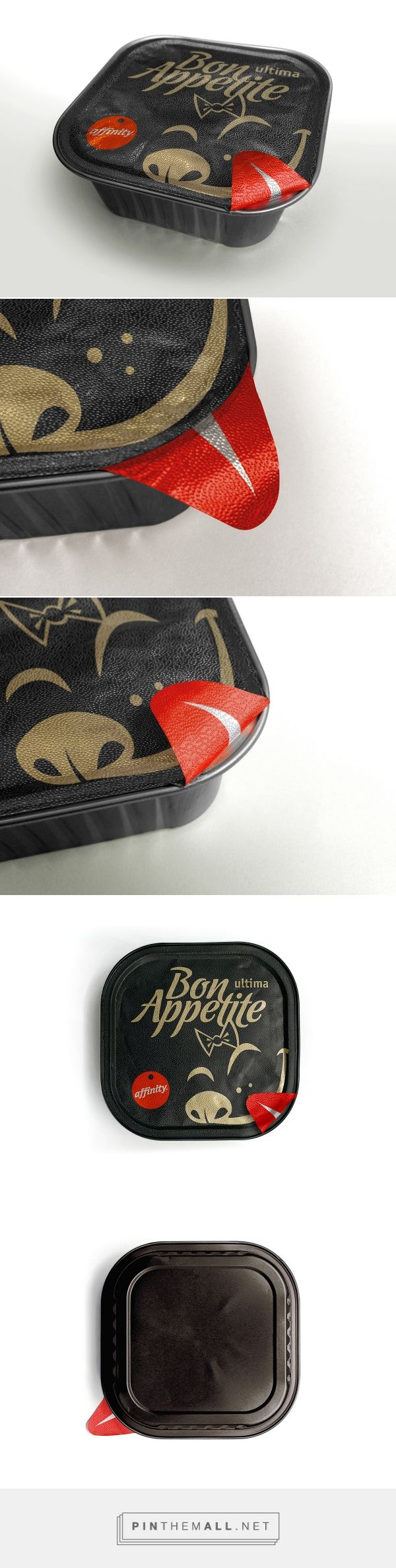 Affinity Ultima Bon Appetite on Behance by Marcal.net curated by Packaging Diva PD. A gourmet mini dog food line. Concept to communicate excellent taste, so the tab on the packaging, used to pull the lid off, is painted red to represent the tongue of a ha