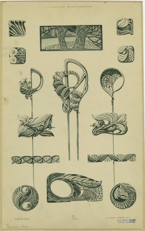 """Image Title:  [Jewelry, Paris, France, 1901s.] Creator: Beauclair, René, fl. 1910 -- Artist Published Date: 1900-1902 Specific Material Type: Prints Item Physical Description: 1 print : col. ; 34 x 21 cm. (13 1/4 x 8 1/4 in.) Notes: Printed on border: """"R. Beauclair. Bijoux modernes."""" """"Deuxième série."""" """"Ch. Schmid, éditeur, Paris."""" Tear and stain on image and border. Original Source: From Bijoux modernes. (Paris : Charles Schmid, 1900-1902) Beauclair, René (fl. 1910), Author."""