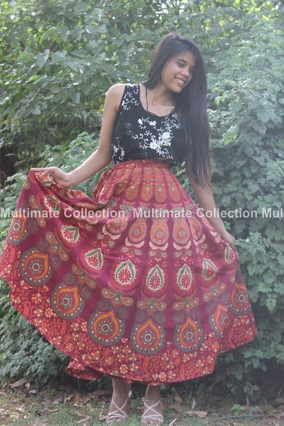 Red Boho Indian skirts wrap skirt, Mandala skirt ethnic Blue maxi skirt Bohemian wrap skirt Indian g