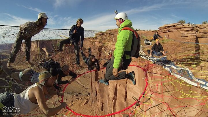 A group of 50 BASE jumpers, slackliners, and other daredevils built a giant pentagonal hammock some 400 feet above the desert near Moab, Utah.