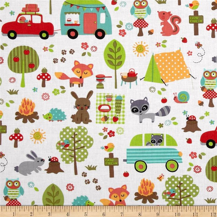 Michael Miller Sorbet Camp Out White from @fabricdotcom  Designed for Michael Miller, this cotton print is perfect for quilting, apparel and home decor accents. Colors include orange, green, red, blue, yellow, brown and aqua on a white background.
