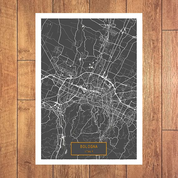 BOLOGNA Italy CANVAS Large Art City Map Bologna by JackTravelMap