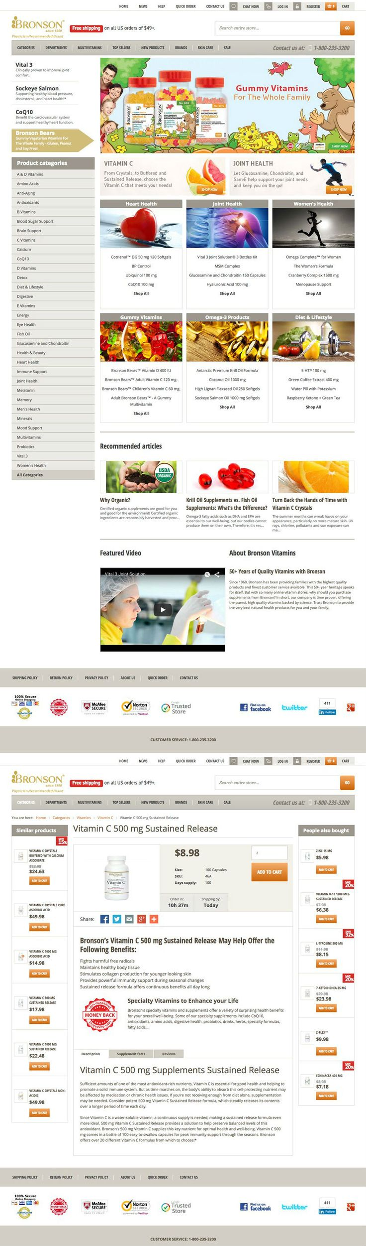 Bronson Laboratories is US based international healthcare company. We developed and implemented a high class, #Magento based, fully responsive #eCommerce web solution. Platform has been integrated with Bronson's internal order management application. Our major #design challenge was to display products in easy, attractive and accessible manner for a wide spectrum of users.  Visit: http://www.bronsonvitamins.com