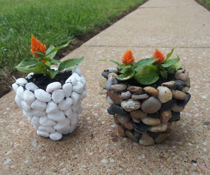DIY River Stone Planter
