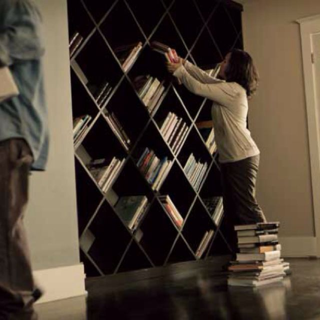 DIY Diagonal bookcase from Home Depot. I can use this to build similar wine bottle storage!