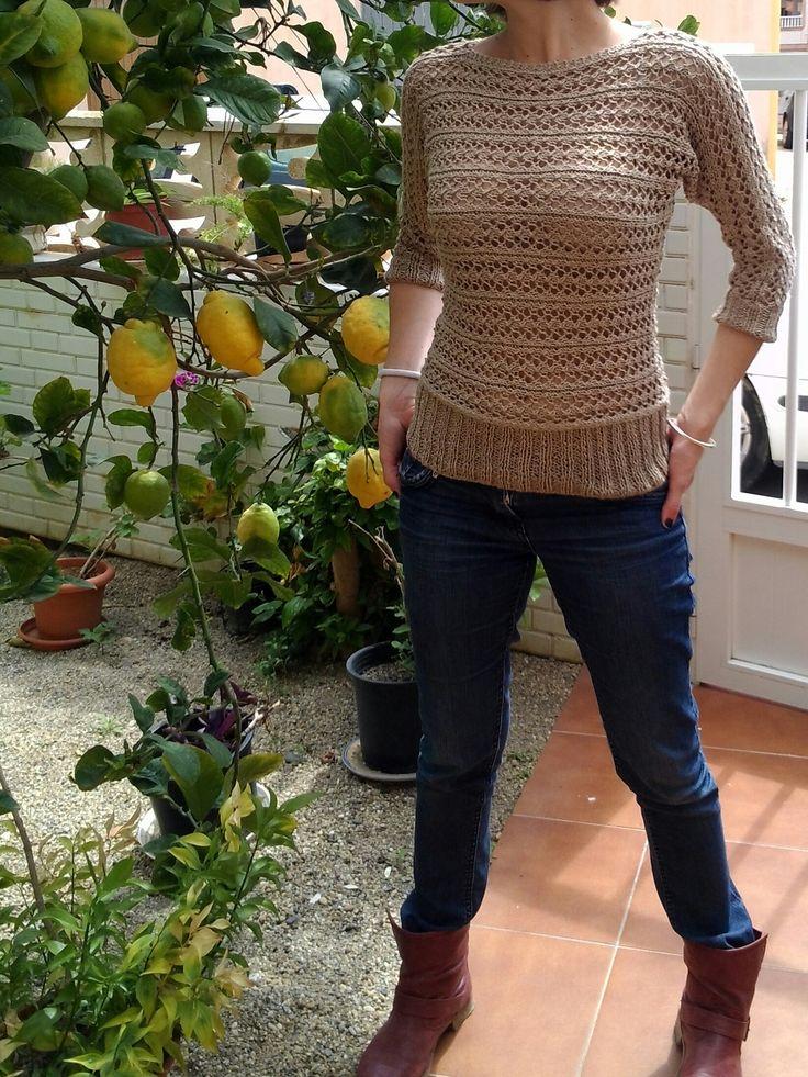 Jersey de verano tejido a dos agujas mis creaciones - Tejado a dos aguas ...