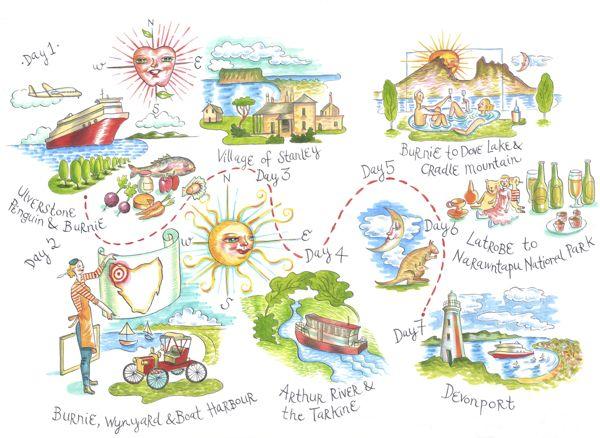 Amanda Upton - Tour map of North West Tasmania for Tourism Tasmania