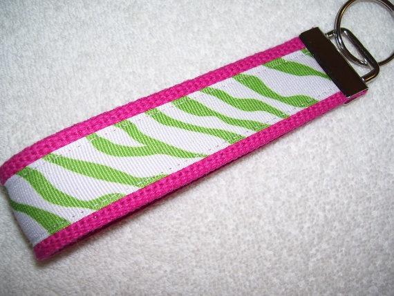 KEY FOBWrist Key ChainLime Green Zebra on by PinkPinsandNeedles, $6.00