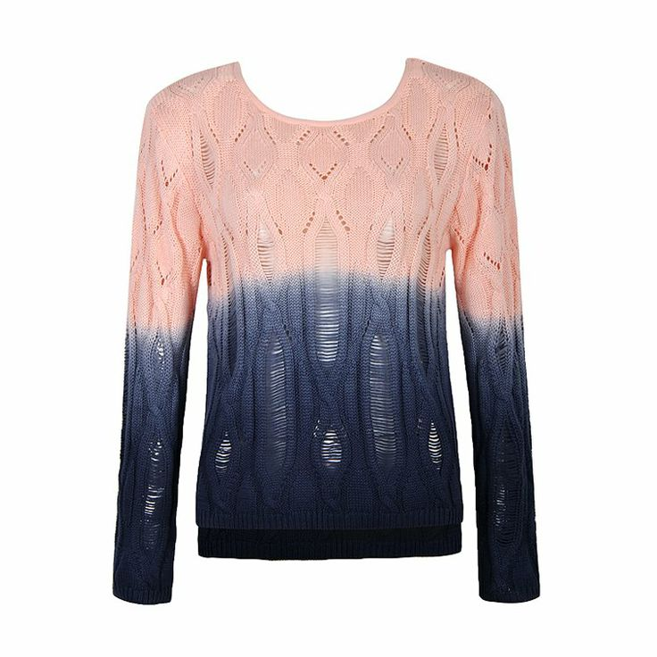 Knit top featuring long sleeves with a dip dye effect.