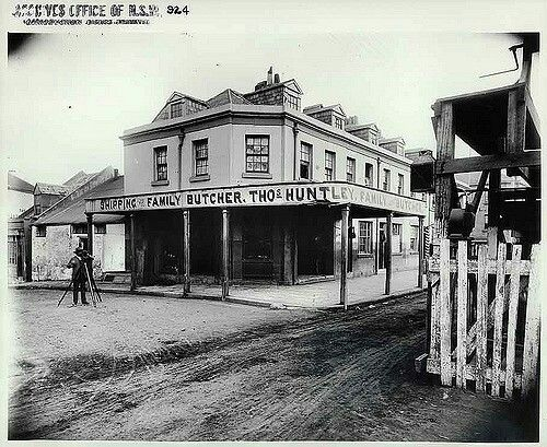 Shipping Family Butcher on Kent St,Sydney in 1888. Archives Office of NSW.