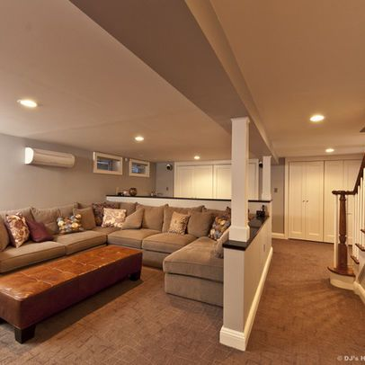 Modern Contemporary Family Basement Remodel. Cool way to creat multiple spaces with half walls