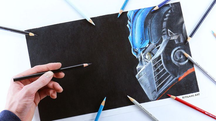 https://flic.kr/p/UaxxK3 | Pencil color drawing of Optimus Prime with left (opposite) hand.  | Video: https://youtu.be/s6NvXR5qjJk | #optimusprime #drawing #transformers #art
