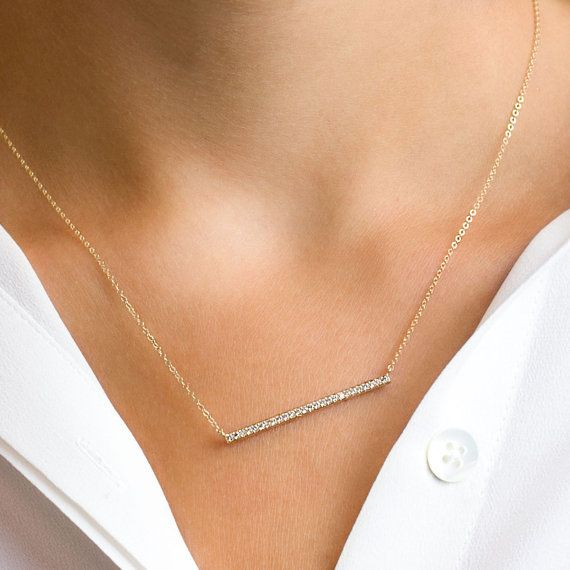Diamond Bar Necklace Gold Skinny Bar Necklace / by LayeredAndLong