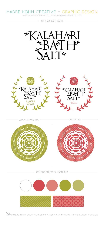 Graphic pattern inspired label design for bath salt from Madre Kohn Creative. http://www.madrekohncreative.co.za/