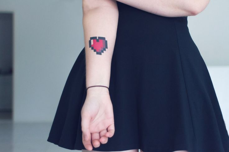 """8 Bit Heart Tattoo - We want to get this as a """"family ..."""
