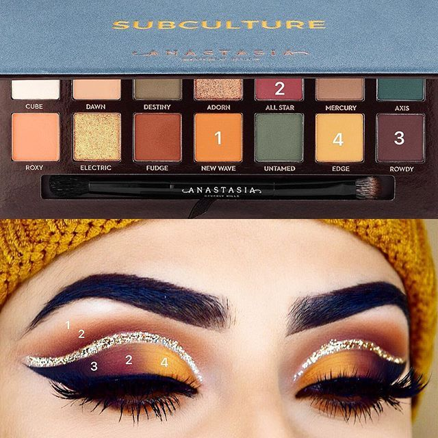 WEBSTA @rija_imran Finally a pictorial of this look using one of my favourite palettes at the moment ❤️ lots of you asked for an actual filmed tutorial of this look, I'll be sure to film one soon but probably using another colour combination so let me know what other tones you would like to see ☺️ @anastasiabeverlyhills Subculture Palette (New Wave, All Star, Rowdy, Edge)