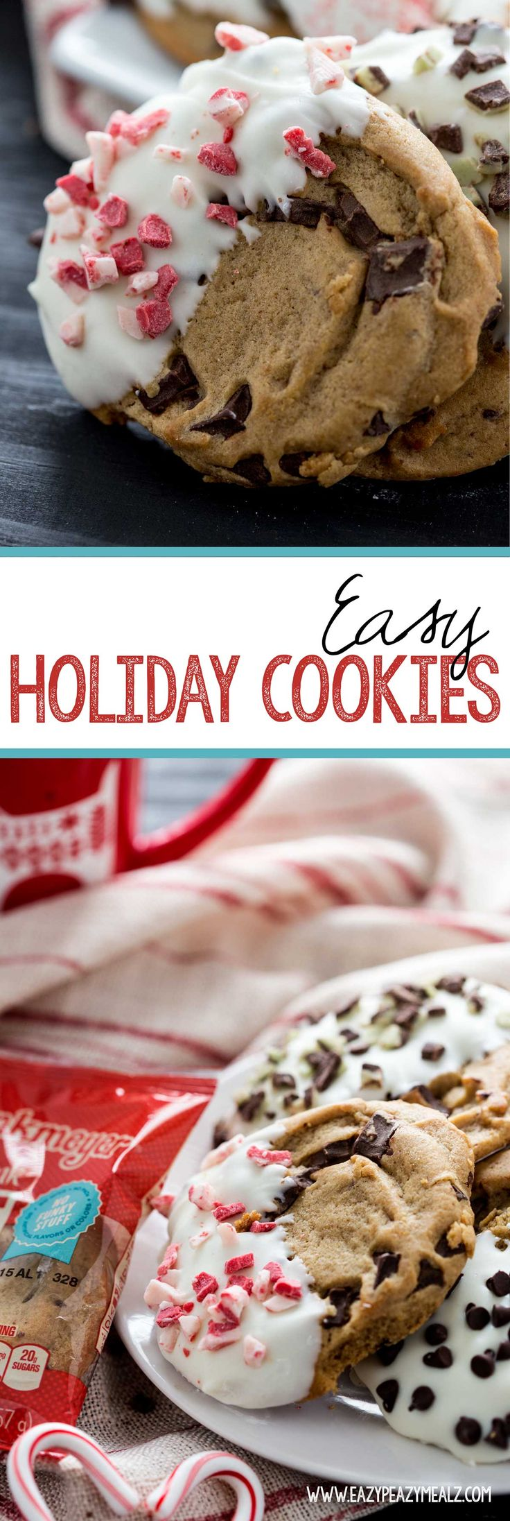 Easy Holiday Cookies are a fun way to celebrate #NationalCookieDay, and to take great looking (and tasting) cookies to parties without too much work. #ad - Eazy Peazy Mealz