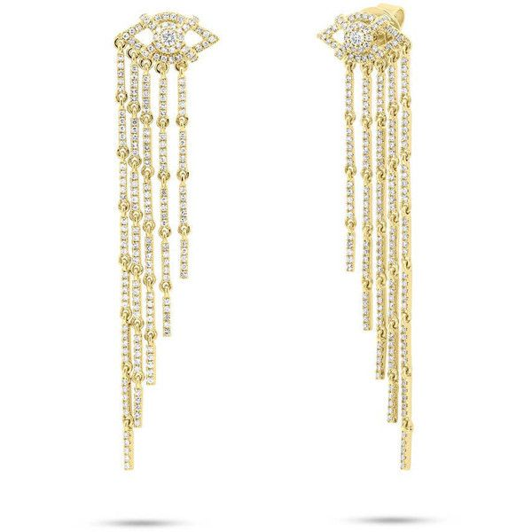 Gorgeous 1.05ct 14k Yellow Gold Diamond Eye Fringe Earring (9,900 SAR) ❤ liked on Polyvore featuring jewelry, earrings, accessories, real diamond, 14k earrings, gold jewellery, 14 karat gold diamond earrings, earring jewelry and diamond earrings