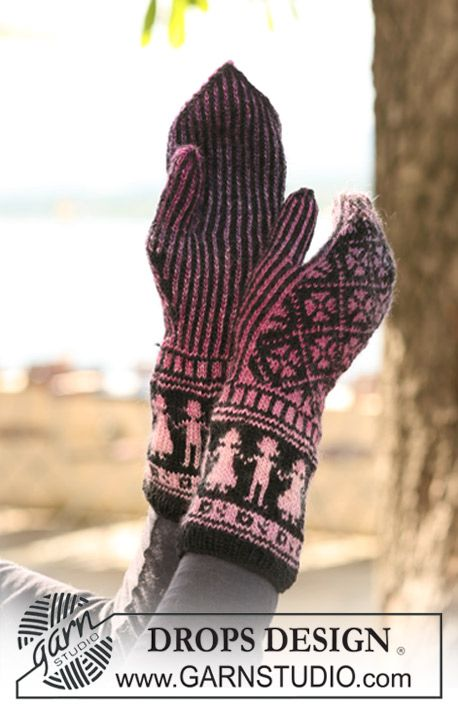 "DROPS 126-3 - DROPS mittens with pattern in ""Delight"" and ""Fabel"". - Free pattern by DROPS Design"
