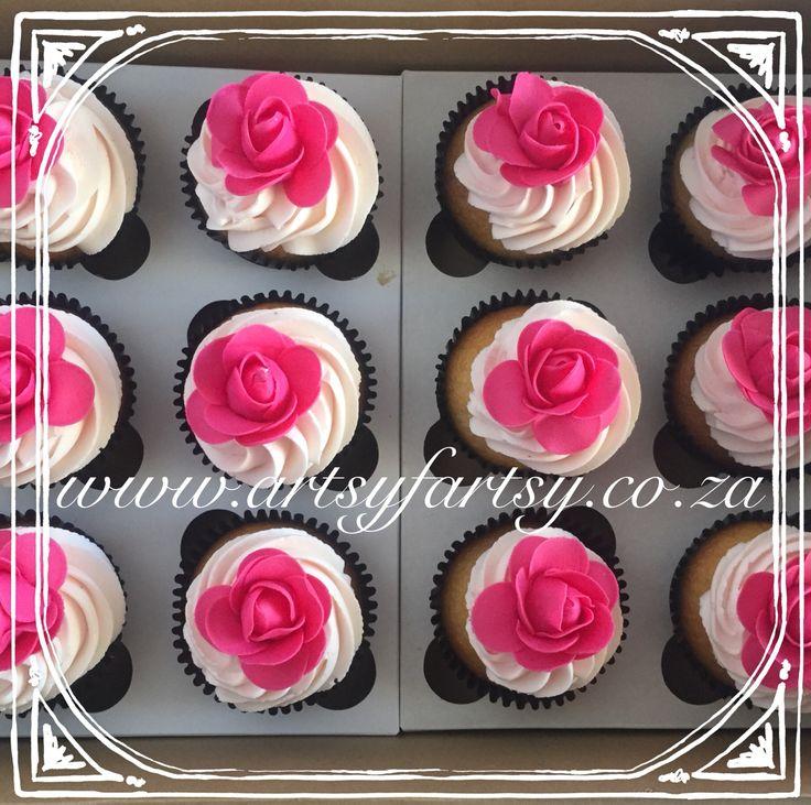 Cherise Pink Rose Vanilla Cupcake with Strawberry Butter Icing #rosecupcake