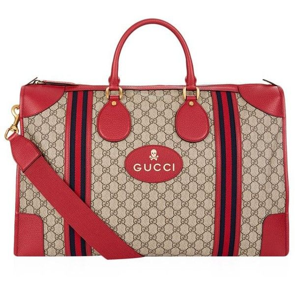 Gucci Large Soft GG Supreme Duffle Bag (€1.905) ❤ liked on Polyvore featuring men's fashion, men's bags, mens duffel bags, gucci mens bag, mens travel bag and mens leather duffle travel bag