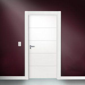 MadeiraMadeira - Porta Semi-sólida Famossul 4 Frisos Horizontais com pintura Esmalte 2,10mx80cmx35mm - Branco