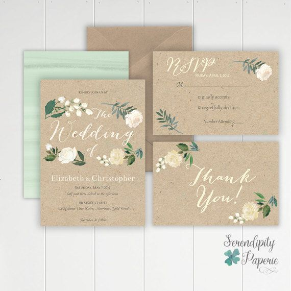 rustic wedding invitation set printable watercolor floral invitation ivory and greenery wedding invitation stationery