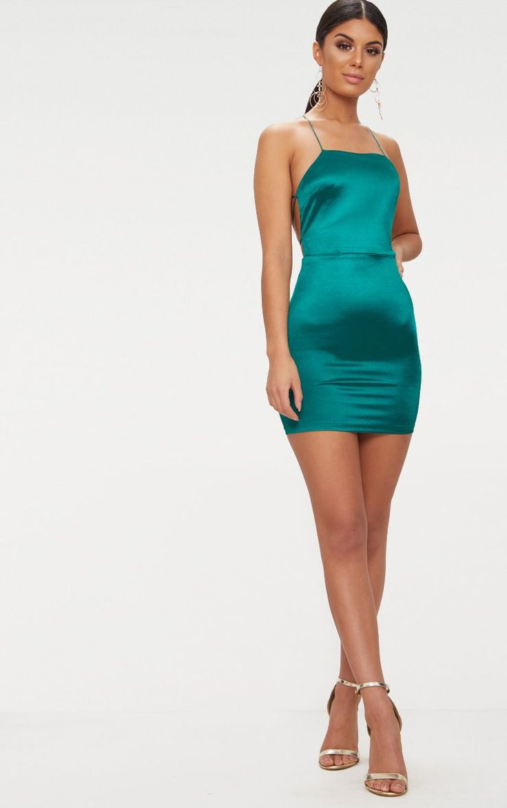 Now back emerald dress high green neck strappy bodycon middle ages