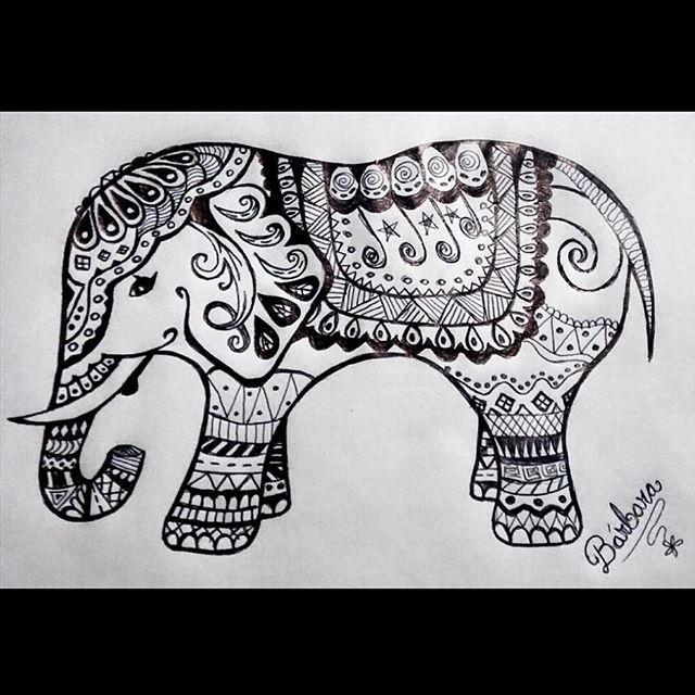 elephant mandala zentangle art drawing elefante dibujo