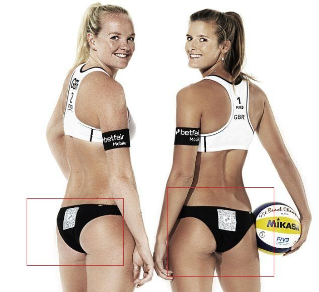 British volleyball players, Shauna Mullin and Zara Dampney, will sport high tech itsy bitsy bikini bottoms at the ongoing Visa FIVB Beach Volleyball International, an intercontinental women's volleyball exhibition. A high tech bar code known as Quick Response (QR) have been installed on their bikini bottoms. Each time someone takes a picture of their b*tts using a smartphone, the person will be automatically directed by the QR matrix barcode to Betfair – an online sports betting company.