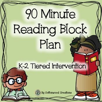 Included in This Creation:90 Minute Reading Block Plans for K-2 classrooms.*These plans were developed as a way to implement a 90 minute reading block that includes a tiered approach to intervention and small group reading instruction along with an acceleration model. *We have a Title One Push-in program that allows for small group reading instruction in the classroom for 40 minutes, four days a week. * Title one works one week ah...